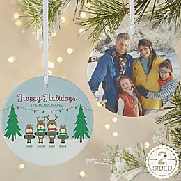 2-Sided Matte Reindeer Family Personalized Ornament- Large