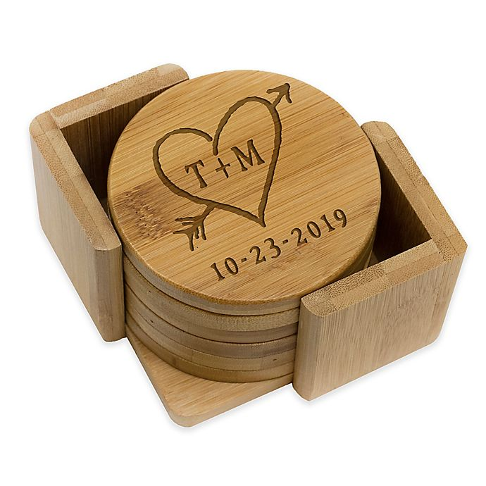Alternate image 1 for Stamp Out Round Rustic Heart & Initial Coasters (Set of 6)