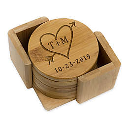 Stamp Out Round Rustic Heart & Initial Coasters (Set of 6)