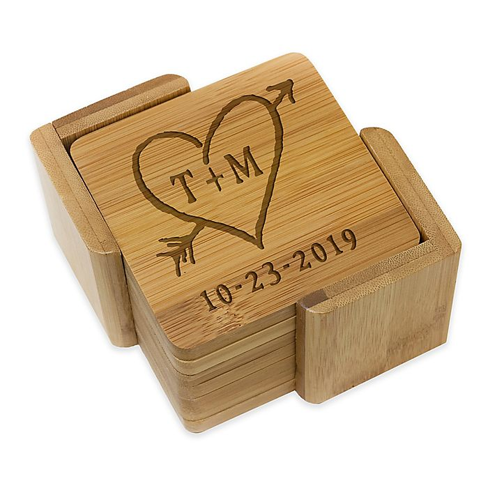 Alternate image 1 for Stamp Out Square Rustic Heart & Initial Coasters (Set of 6)
