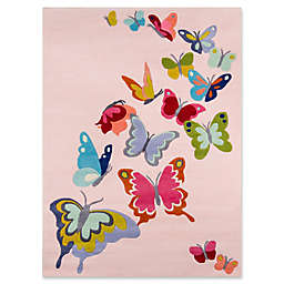 Momeni Butterfly Flutter 3' x 5' Area Rug in Pink