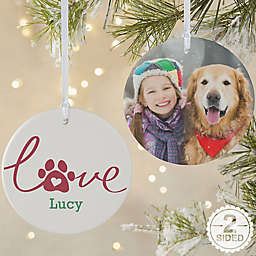 2-Sided Matte Love Has 4 Paws Personalized Dog Ornament- Large