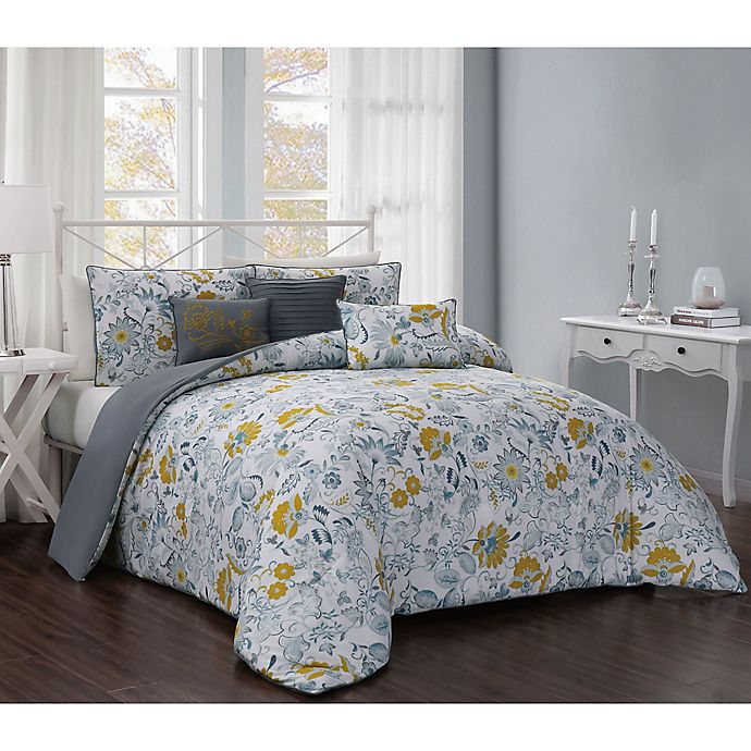 Alternate image 1 for Vernazza Reversible 5-Piece Twin Comforter Set in Teal