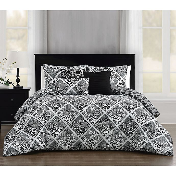 Alternate image 1 for Luella 6-Piece Reversible Full/Queen Comforter Set in Black/White