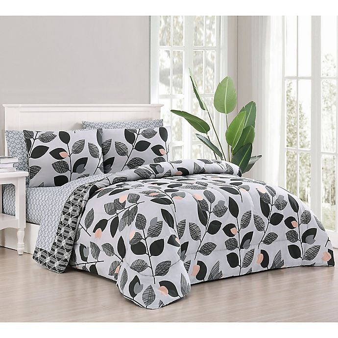 Alternate image 1 for Kenna 7-Piece Reversible Full/Queen Comforter Set in Grey/Pink