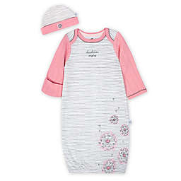Just Born 2-Piece Dandelion Gown and Cap Set in Pink