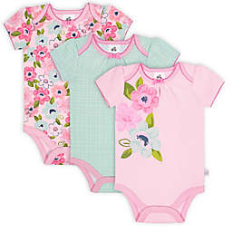 Just Born® 3-Pack Blossom Short Sleeve Bodysuits in Pink/Blue