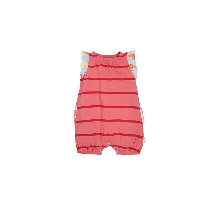 Alternate image 1 for Burt's Bees Baby® Striped Bubble Romper in Pink