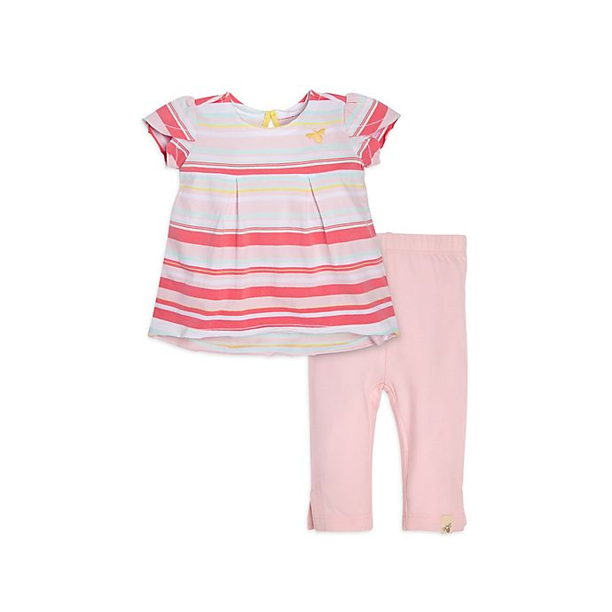 Alternate image 1 for Burt's Bees Baby® 2-Piece Striped Tunic and Capri Set in Pink