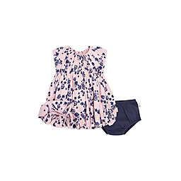 Burt's Bees Baby® 2-Piece Flowers Dress and Diaper Cover Set in Pink