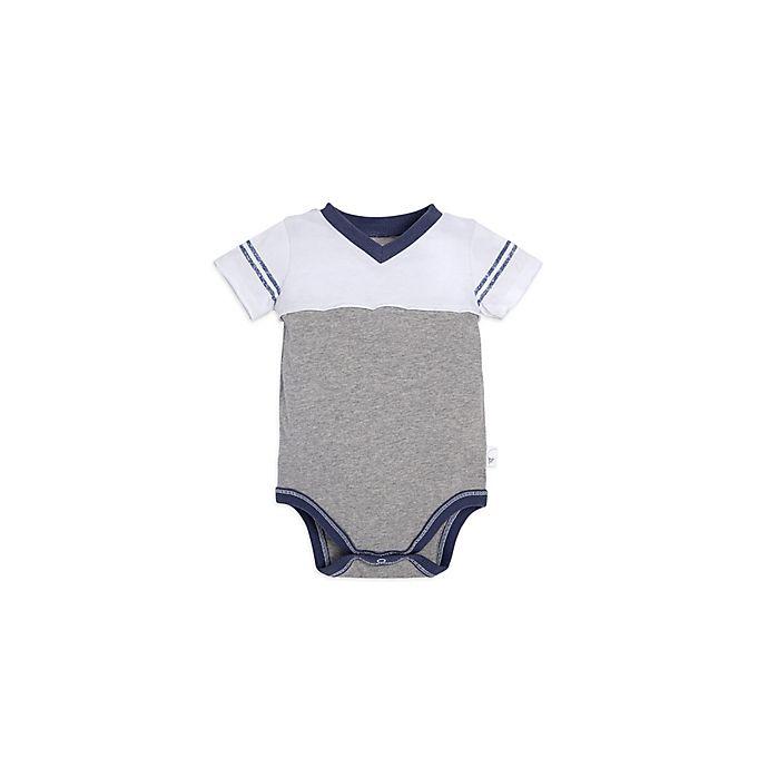 Alternate image 1 for Burt's Bees Baby® Contrast Yoke Bodysuit in Grey