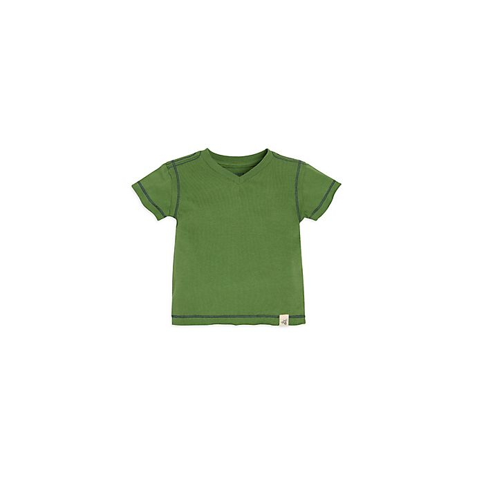 Alternate image 1 for Burt's Bees Baby® Reverse Seam V Neck Short Sleeve Tee in Green
