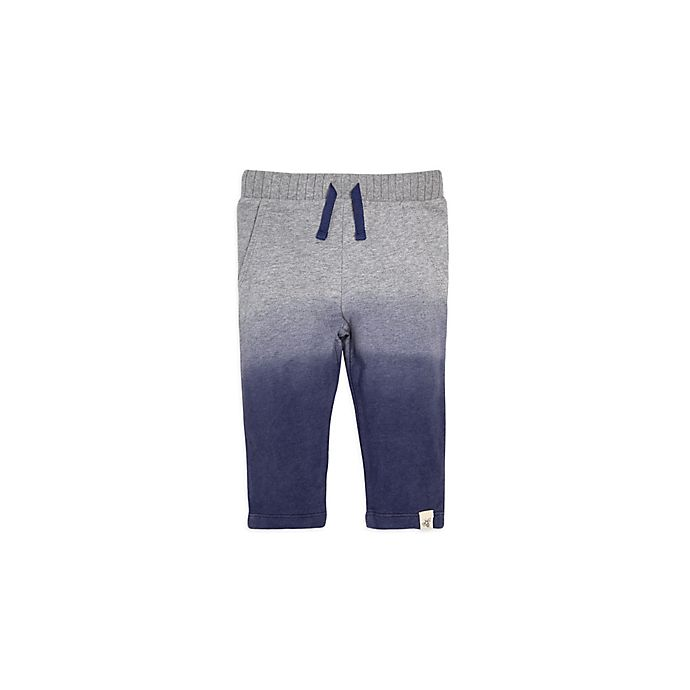 Alternate image 1 for Burt's Bees Baby® French Terry Dip Dye Pant in Navy