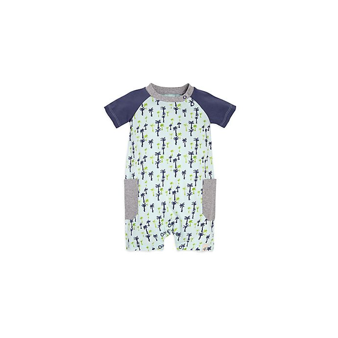 Alternate image 1 for Burt's Bees Baby® Breezy Palms Raglan Shortall in Green