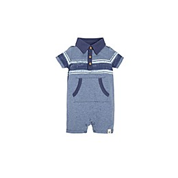 Burt's Bees Baby® Retro Stripe Polo Shortall in Blue