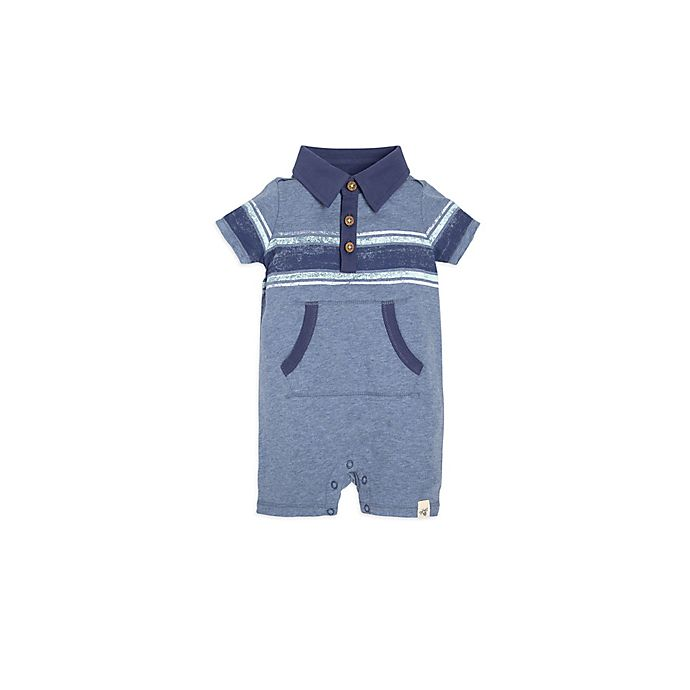 Alternate image 1 for Burt's Bees Baby® Retro Stripe Polo Shortall in Blue