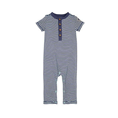 Burt's Bees Baby Classic Stripe Henley Coverall in Navy