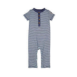Burt's Bees Baby® Classic Stripe Henley Coverall in Navy