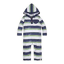 Burt's Bees Baby® Retro Stripe Hooded Coverall in Blue/White