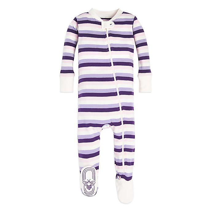 Alternate image 1 for Burt's Bees Baby® Organic Cotton Striped Sleeper in Purple