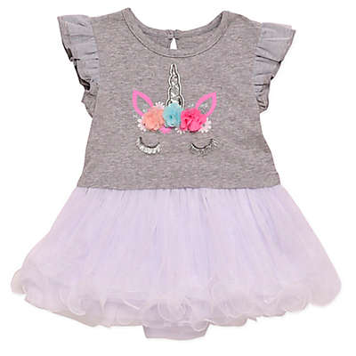 Baby Starters® 2-Piece Unicorn Dress and Panty Set in Grey