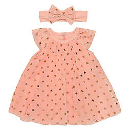 Baby Starters® Size 3M 2-Piece Heart Dress and Headband Set in Coral