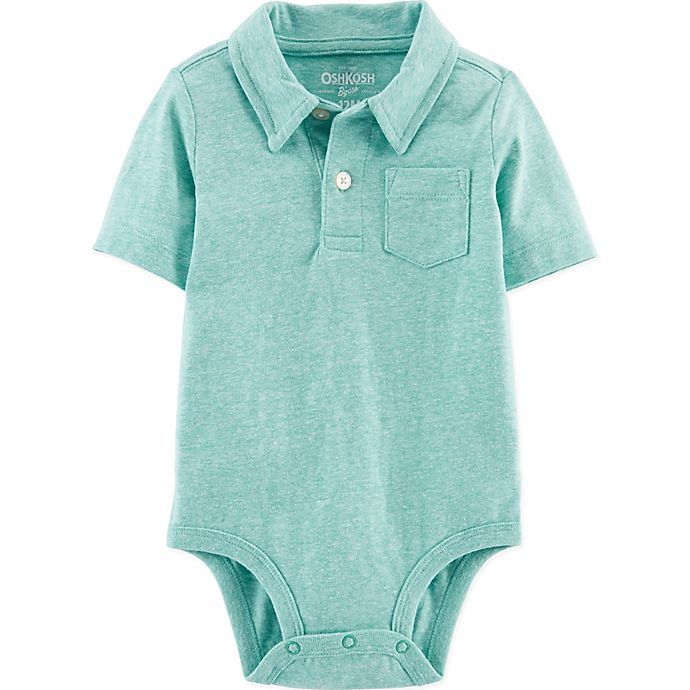 Alternate image 1 for OshKosh B'gosh® Polo Bodysuit in Teal