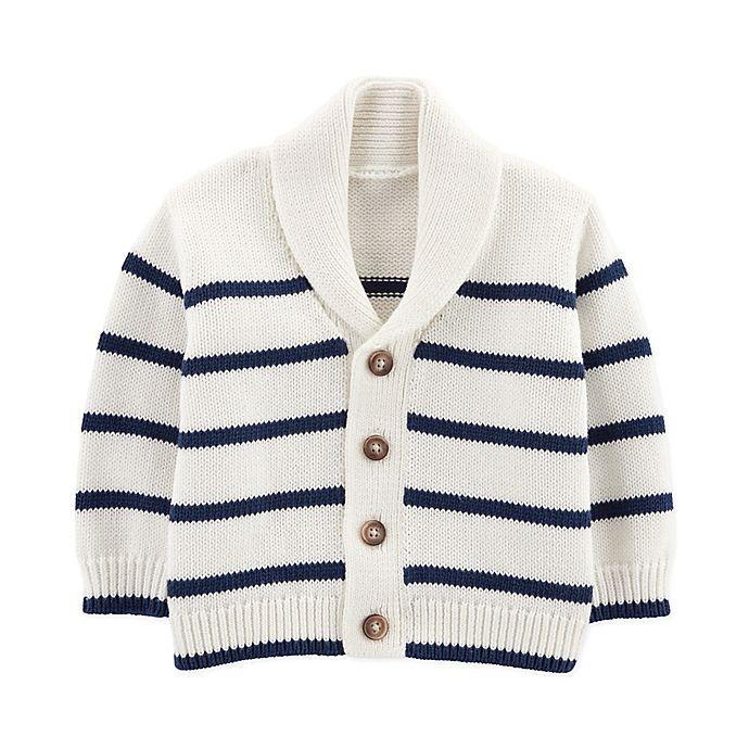 Alternate image 1 for OshKosh kosh B'gosh® Size 18M Striped Shawl Collar Cardigan in White