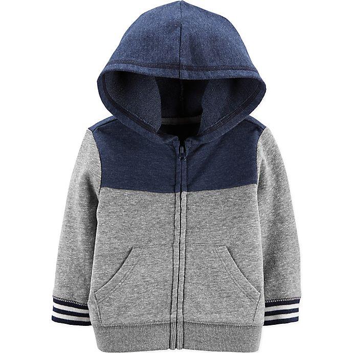 Alternate image 1 for OshKosh B'gosh® Size 12M Colorblock Hoodie in Grey/Navy