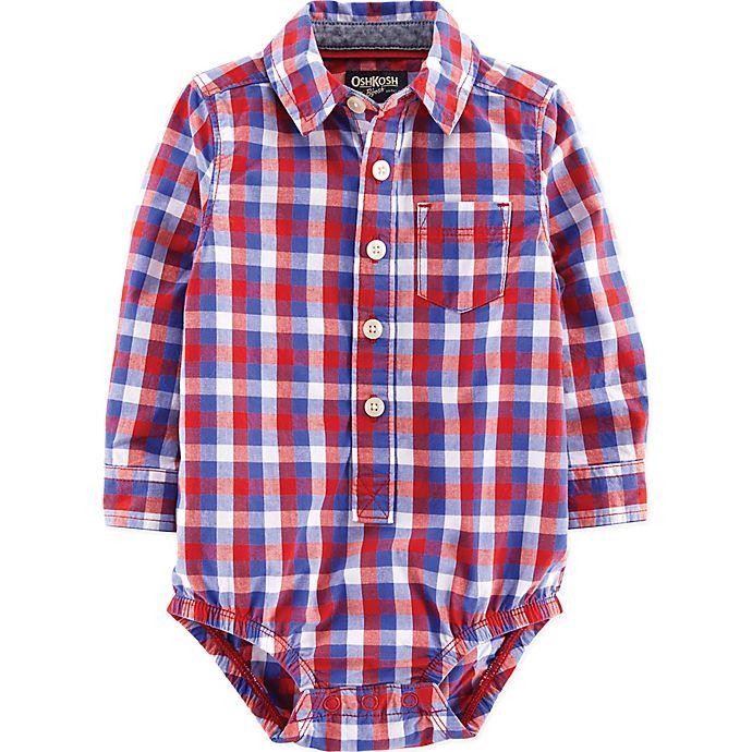 Alternate image 1 for OshKosh B'gosh® Size 18M Checkered Woven Bodysuit in Red