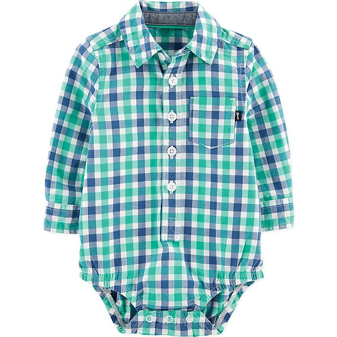 Alternate image 1 for OshKosh B'gosh® Size 6M Gingham Woven Bodysuit in Blue/Green