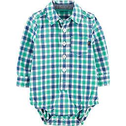 OshKosh B'gosh® Gingham Woven Bodysuit in Blue/Green