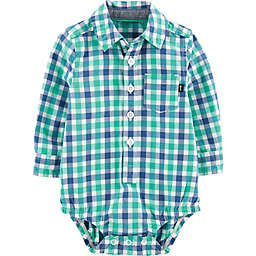 OshKosh B'gosh® Gingham Woven Bodysuit in Blue/Green