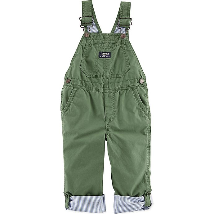Alternate image 1 for OshKosh B'gosh® Size 18M Pinstripe-Lined Overall in Olive