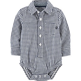 OshKosh B'gosh® Gingham Woven Bodysuit in Navy