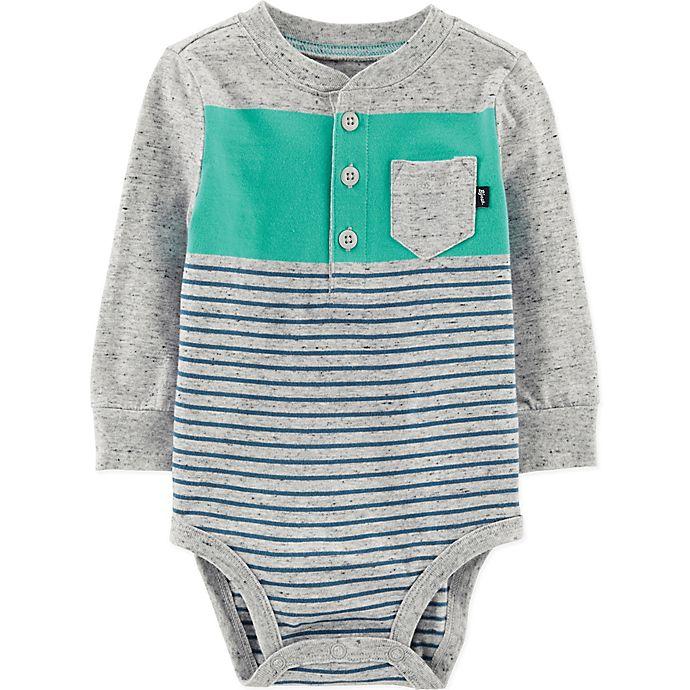 Alternate image 1 for OshKosh B'gosh® Size 6M Striped Bodysuit in Grey/Teal/Blue