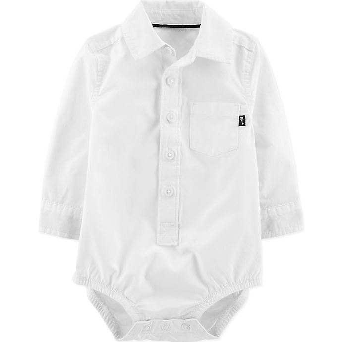 Alternate image 1 for OshKosh B'gosh® Button-Front Bodysuit in White