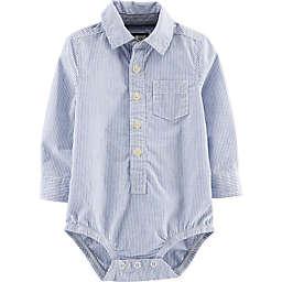 OshKosh B'gosh® Long Sleeve Shirt Shop Bodysuit in Blue Stripe