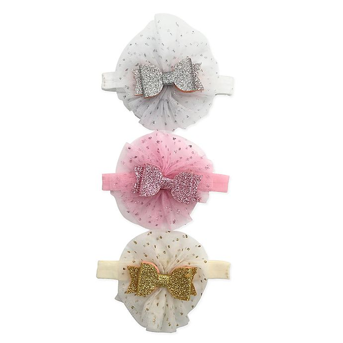 Alternate image 1 for Curls & Pearls 3-Pack Sparkle Bow Headbands