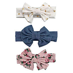Curls & Pearls 3-Pack Big Bow Headbands in Gold/Pink