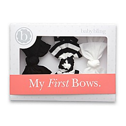 Baby Bling 3-Pack Bow Headbands in Black/White