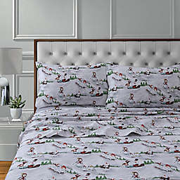 Tribeca Living 170 Thread Count Winter Wonderland Flannel Deep Pocket Sheet Set