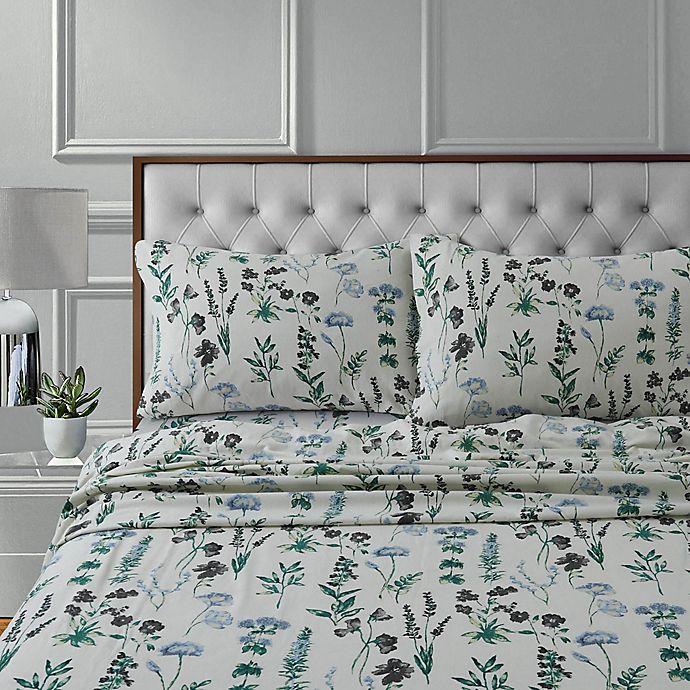 Alternate image 1 for Tribeca Living Fleur Flannel 170-Thread-Count Deep Pocket Sheet Set