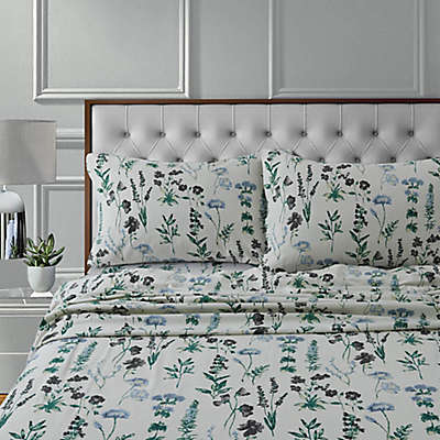 Tribeca Living Fleur Flannel 170-Thread-Count Pillowcases in Green (Set of 2)