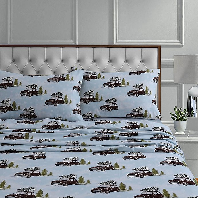 Alternate image 1 for Tribeca Living 170-Thread-Count Winter Outing Flannel Standard Pillowcases in Blue (Set of 2)
