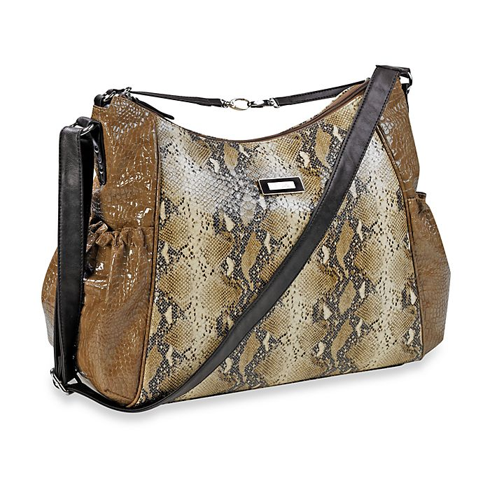 Alternate image 1 for Kenneth Cole Reaction Magnolia Street Hobo Diaper Bag in Taupe Croc w/ Snake & Chocolate Trim