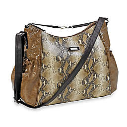 Kenneth Cole Reaction Magnolia Street Hobo Diaper Bag in Taupe Croc w/ Snake & Chocolate Trim