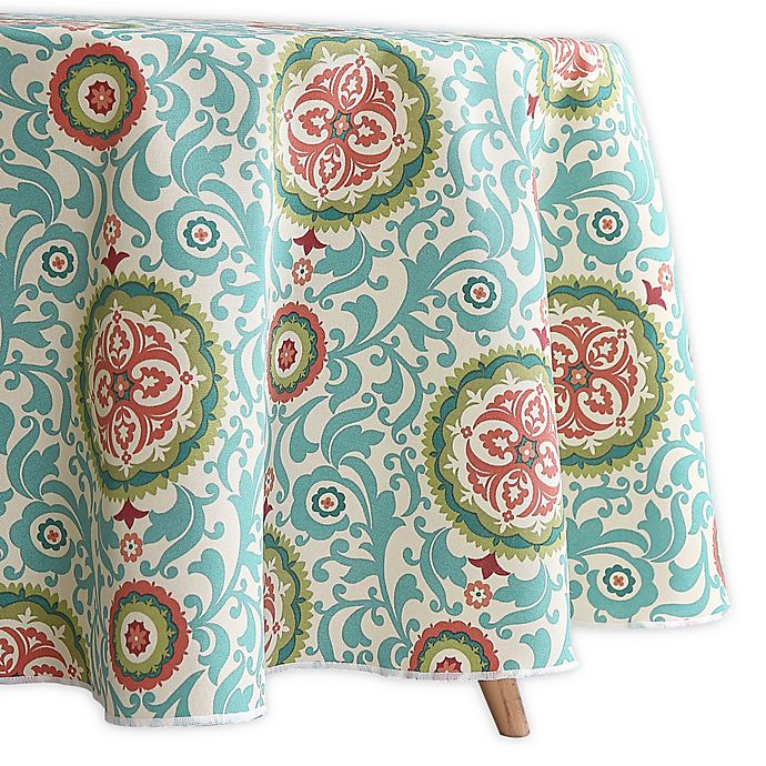 Alternate image 1 for Waverly Lexie Indoor/Outdoor 70-Inch Round Tablecloth in Blue