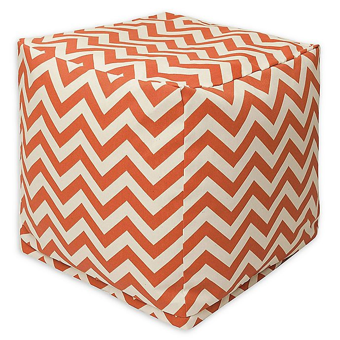 Alternate image 1 for Majestic Home Goods™ Polyester Chevron Ottoman in Burnt Orange