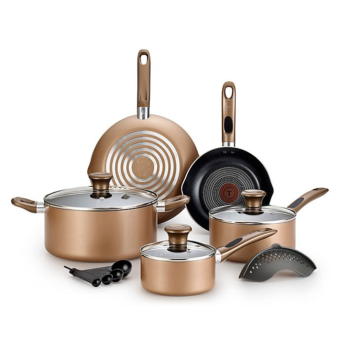 Alternate image 1 for T-Fal® Excite 14-Piece Cookware Set in Bronze